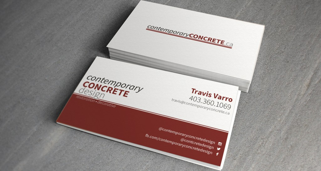 Contemporary concrete design business cards o grizzly media for Masonry business card ideas