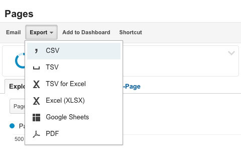 Google Analytics Export As CSV
